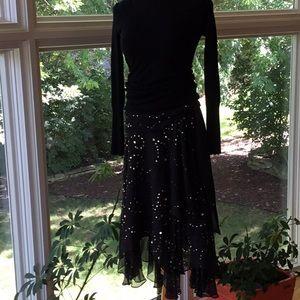 Cache Black Sequined Skirt